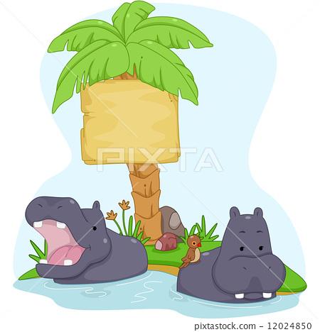 Hippopotamus Sign Board 12024850