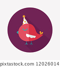 bird with birthday hat flat icon with long shadow,eps10 12026014