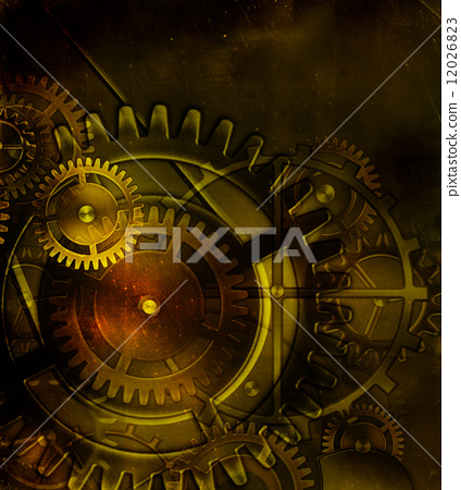steampunk old gear mechanism on the background of old vintage pa 12026823