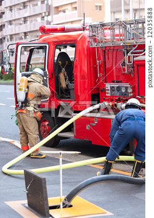 Stock Photo: fire fighter, firetruck, fire-engine