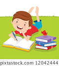 Little boy writing with books 12042444