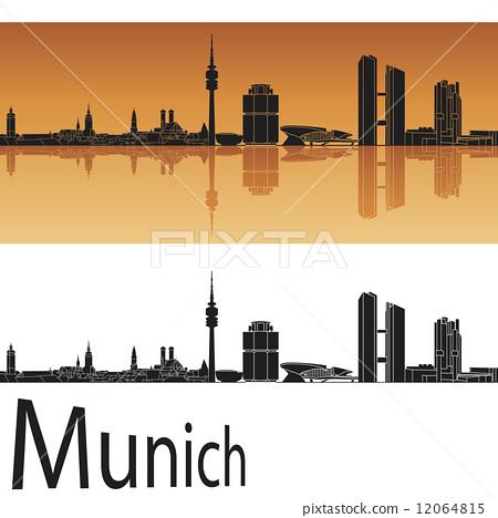 Munich skyline in orange background 12064815