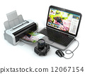Laptop, photo camera and printer. Preparing images for print. 12067154