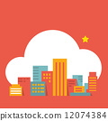 flat style illustration modern city  in the cloud 12074384