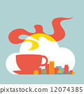 flat style illustration modern city with cup of coffee and cloud 12074385