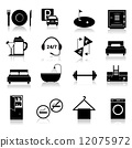 Hotel icons set black 12075972