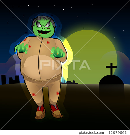 vector illustration of a fat zombie 12079861