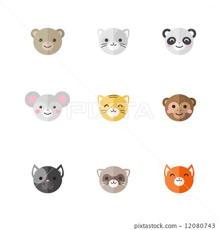 Vector flat set of funny cartoon animals 12080743