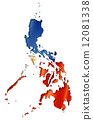 Philippines flag map 12081338