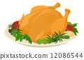 Meal on dish, roasted turkey 12086544