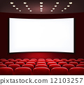 Cinema with white screen and seats. Vector. 12103257