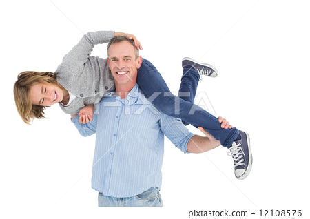 Smiling man carrying son on his shoulders 12108576