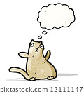 funny cat with thought bubble 12111147