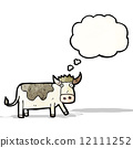 cartoon cow with thought bubble 12111252