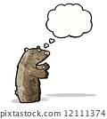 cartoon bear with thought bubble 12111374