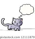 cartoon cat with thought bubble 12111879