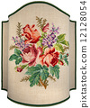 Vintage Embroidery - Roses Flowers and Leaves 12128054