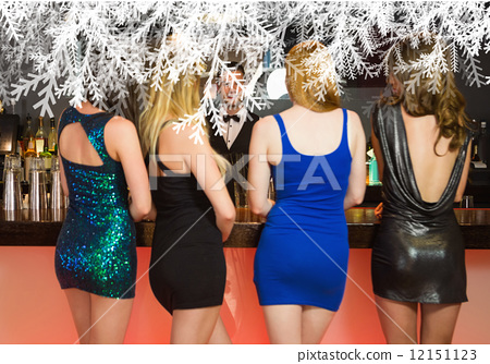Composite image of sexy women ordering drinks 12151123