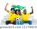 Excited football fans in yellow sitting on couch with brazil fla 12178829