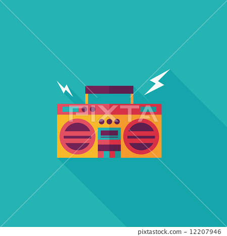 ghetto blaster audio flat icon with long shadow,eps10 12207946