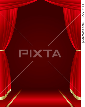 Red curtains background Vector 12229511