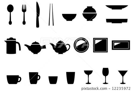 Dishware Kitchen Appliances Icon Set Stock Illustration 12235972