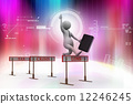 3d man jumping over a hurdle obstacle titled tax, crisis, loss 12246245