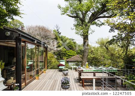 Wide terrace wood deck natural environment 12247505