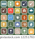 Gardening flat icons on green background 12251763