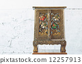 ancient cabinet thailand style in background of white wall, with 12257913