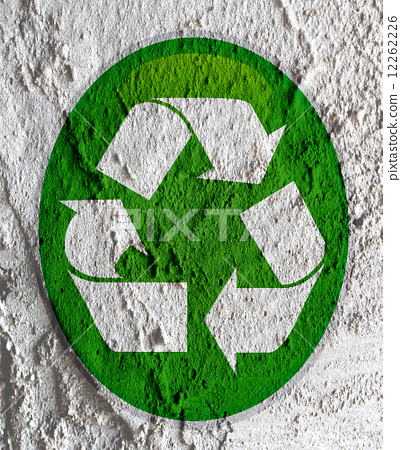 Recycle Symbol On Wall Texture Background Design Stock