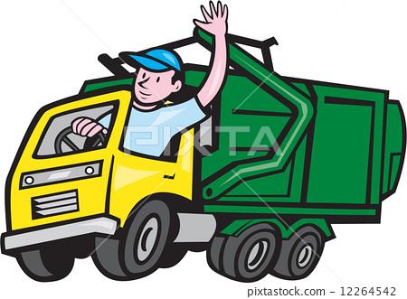 Garbage Truck Driver Waving Cartoon 12264542