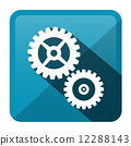 Cog - Gear Blue Vector Rounded Square Icon 12288143