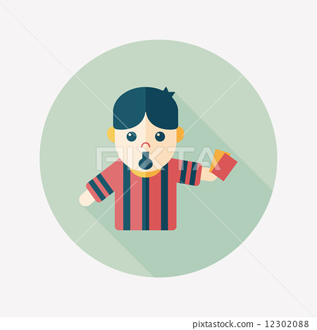 soccer referee flat icon with long shadow,eps10 12302088