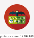 Halloween party sign flat icon with long shadow,eps10 12302409