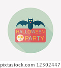 Halloween party sign flat icon with long shadow,eps10 12302447
