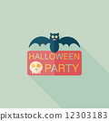 Halloween party sign flat icon with long shadow,eps10 12303183