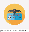 Halloween party sign flat icon with long shadow,eps10 12303967