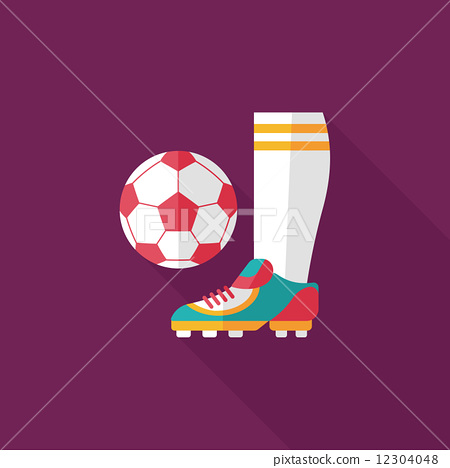 soccer flat icon with long shadow,eps10 12304048