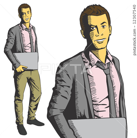 Vector man with laptop in his hands 12307540