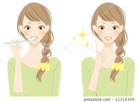 Women's point brushing teeth 12314309
