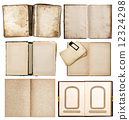 old books set with aged paper pages 12324298