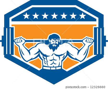Bodybuilder Lifting Barbell Shield Retro 12326660