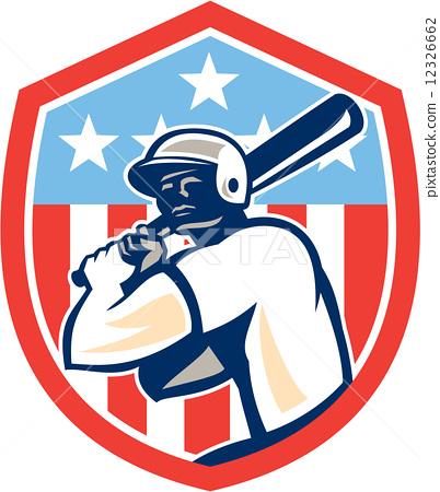 American Baseball Batter Hitter Shield Retro 12326662