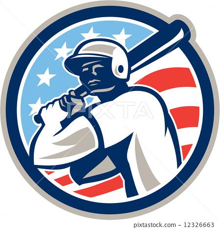 American Baseball Batter Hitter Circle Retro 12326663