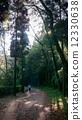 走在早晨山道路的妇女 12330638