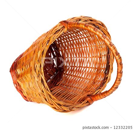 Empty wicker basket on white background. 12332205