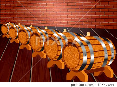 cellar with wine barrels 12342644