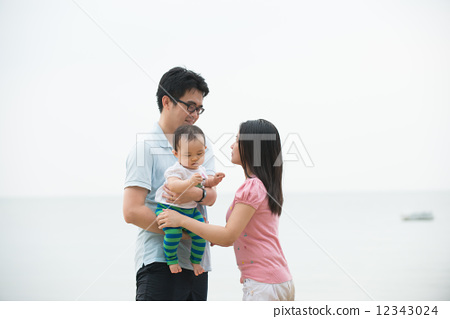 Portrait of an asian family on beach 12343024