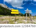 mountain, crossroad, signpost 12364760